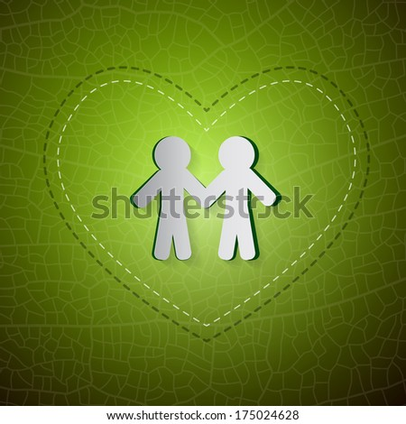 Ecology Green Background. People Cut From Paper, Heart, Leaf - Also Available in Vector Version  - stock photo