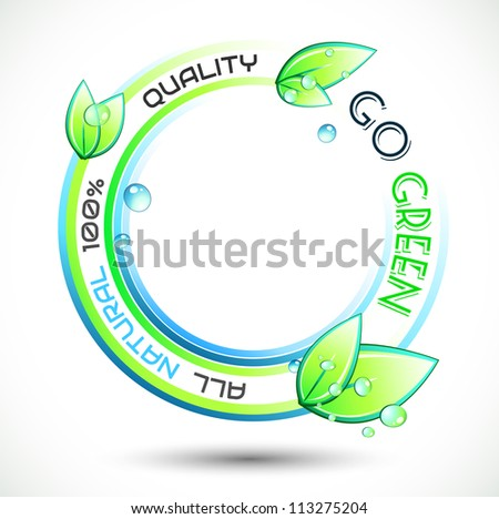 Ecology Green conceptual background with green related slogan, circles and stunning wet leaves. Ideal for environmental eco related posters.