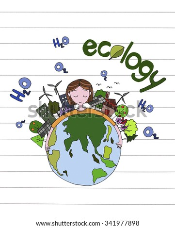 ecology green world concept. ecology green world concept.  hand drawing a girl hug the world on white paper line backgrounds.
