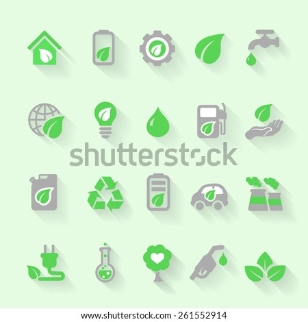 Ecology icons set with environment, green energy and pollution in flat for web and mobile app - stock photo