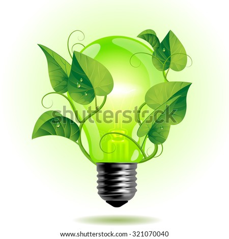 Ecology light bulb with leaves.  Green energy concept - stock photo