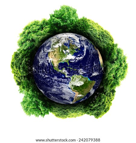 Ecology planet with with trees around. eco earth (Elements of this 3d rendered image furnished by NASA) - stock photo