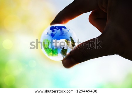ecology recycle concept- take care for planet - stock photo