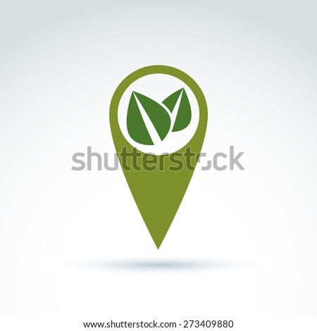 Ecology vector icon for nature and environment conservation theme. Two leaves placed in a green circle, ecology conceptual symbol isolated on white background.  - stock photo