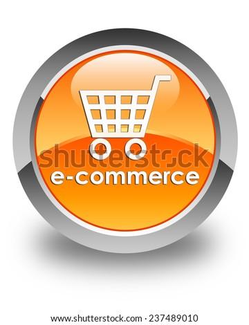 Ecommerce glossy orange round button - stock photo