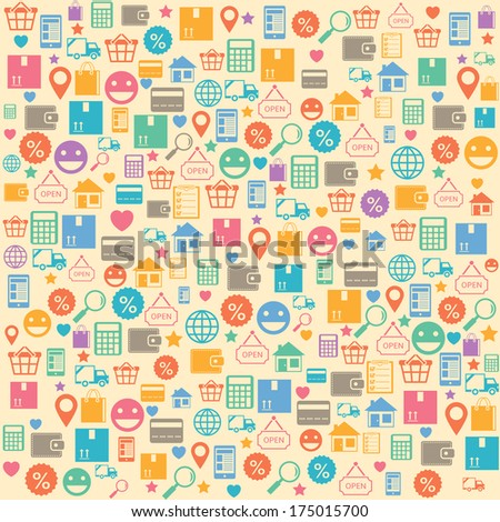 Ecommerce online shopping seamless background pattern  illustration - stock photo