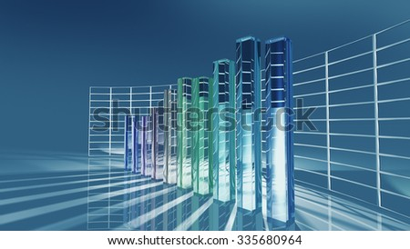 Economic bar chart for business concept. 3D rendering - stock photo