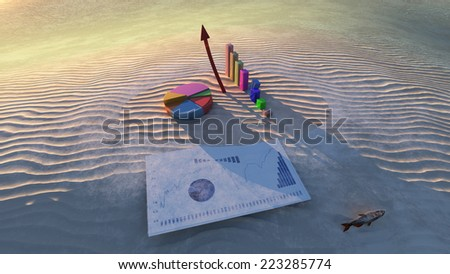 economic graphs on a small island - stock photo