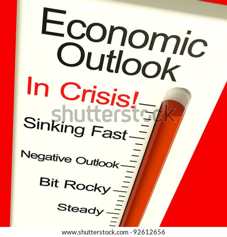 Economic Outlook In Crisis Monitor Showing Bankruptcy And A Depression - stock photo