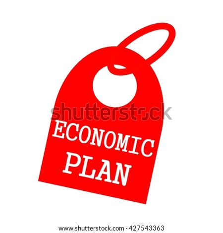 ECONOMIC PLAN white wording on background red key chain