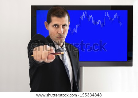 economic professor pointing to the neighbor to ask - stock photo