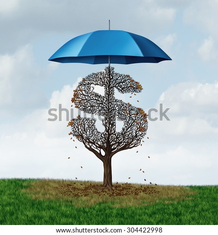 Economic protectionism policy and financial closed trade restrictions as a tree shaped as a money dollar sign losing leaves due to a security umbrella blocking needed sun and rain. - stock photo
