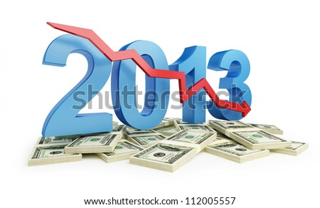economic recession in 2013 on a white background