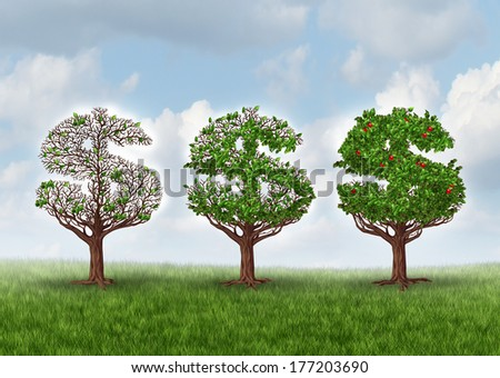 Economic recovery and growing wealth business metaphor as a group of trees shaped as a dollar sign growing leaves and bearing fruit as a symbol of wealth and financial success in a growth industry. - stock photo