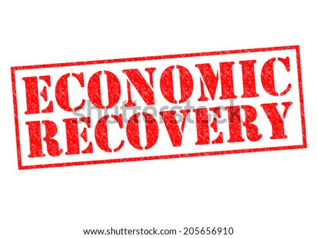 ECONOMIC RECOVERY red Rubber Stamp over a white background. - stock photo