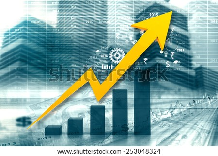Economical stock market graph - stock photo