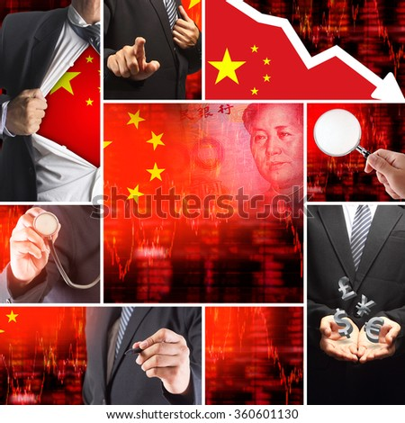 Economics crisis of china, Flag of China with face of Mao Zedong on RMB (Yuan) 100 bill. Downtrend stock diagram ideas concept - stock photo