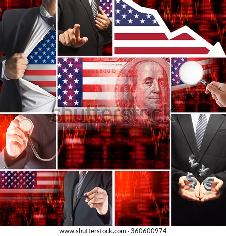 Economics crisis of usa, United States of America Flag with Face of Benjamin Franklin from one hundred dollars bill, Downtrend stock diagram ideas concept - stock photo