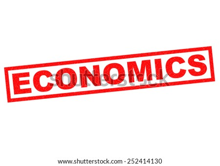 ECONOMICS red rubber Stamp over a white background. - stock photo