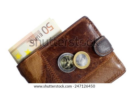 Economy and finance. Wallet with money paper currency euro banknote isolated on white background - stock photo