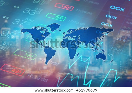 Economy Background With Abstract Stock Market Graph Tickers Financial Data And Blue World Map