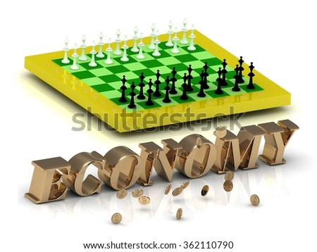 ECONOMY- bright gold letters money and yellow chess on white background