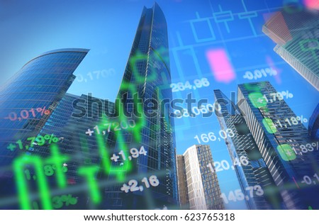 Economy, business, financial background. Economy concept collage, office buildings and skyscrapers at background, stock market charts and data. Blue background for global economy, financial themes.