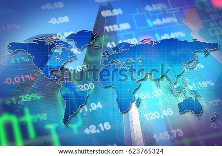 Economy, business, financial background. Economy concept collage with blue world map at background of stock market charts and data. Blue background for global economy themes and financial news.