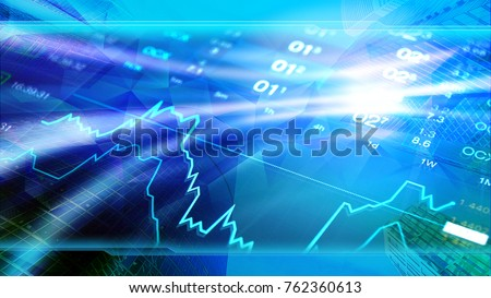 Economy, business, forex, invest background. Economy concept 4k image, skyscrapers at background, stock market charts and data. Blue shiny background for global economy, financial, investment themes.