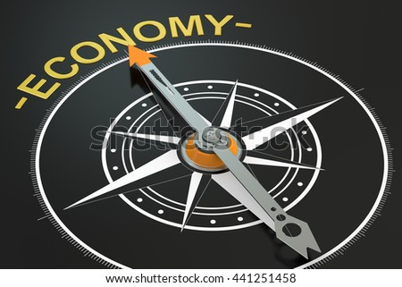 Economy compass concept, 3D rendering - stock photo