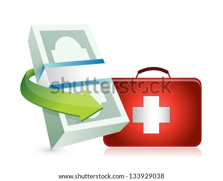 economy crisis protection kit illustration design over a white background - stock photo