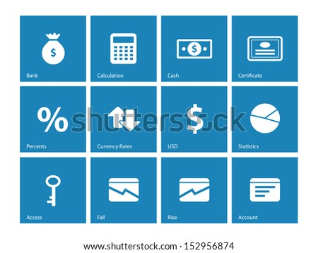 Economy icons on blue background. See also vector version. - stock photo