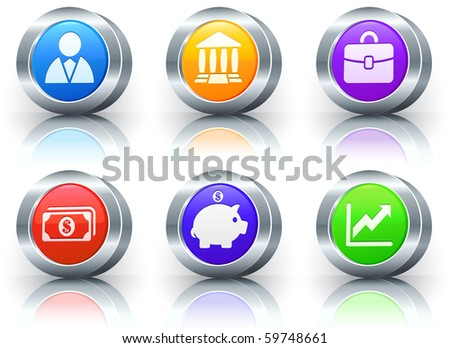 Economy Icons on Reflective Button with Metallic Rim Collection Original Illustration - stock photo