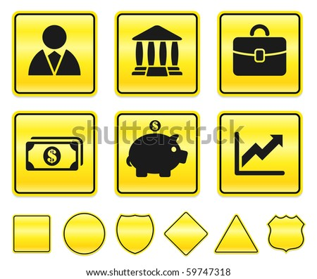 Economy Icons on Yellow Sign Button Collection Original Illustration - stock photo