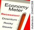Economy Meter Shows Recession and Downturn - stock photo