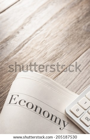 economy news.on desk.