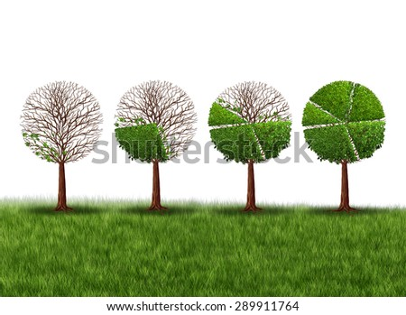 Economy prosperity and economic success financial concept as a group of green trees shaped as growing finance pie chart as a metaphor for gradual gains in company stock on a white background. - stock photo