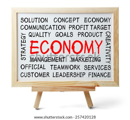 Economy word cloud is written on a whiteboard which is isolated on white background. - stock photo