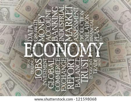 Economy word cloud on top of american dollars - stock photo