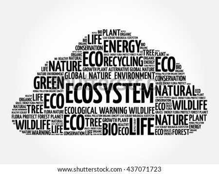 Ecosystem word cloud, conceptual green ecology background