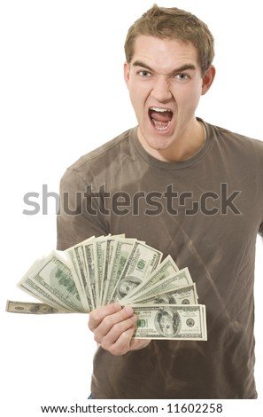 Ecstatic with money. - stock photo