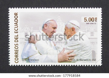 ECUADOR - CIRCA 2013: a postage stamp printed in Ecuador showing an image of pope Francis I and pope Benedict XVI, circa 2013.  - stock photo