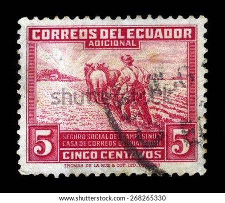 ECUADOR - CIRCA 1940: a stamp printed in Ecuador shows farmer ploughing, issue obligatory tax, social insurance fund for rural workers, circa 1940 - stock photo