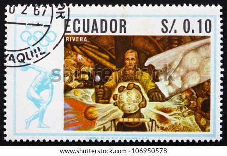 ECUADOR - CIRCA 1967: a stamp printed in the Ecuador shows Wanderer, Painting by Diego Rivera, Summer Olympics, Mexico City 68, circa 1967 - stock photo