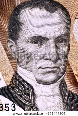 ECUADOR - CIRCA 1998: Vicente Rocafuerte (1783-1847) on 10000 Sucres 1998 Banknote from Ecuador. President of Ecuador during 1834-1839. - stock photo