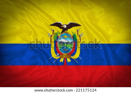 Ecuador flag pattern on the fabric texture ,vintage style - stock photo