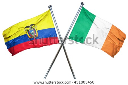 Ecuador flag with Ireland flag, 3D rendering