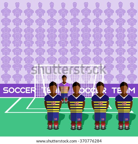 Ecuador Football Club Soccer Players Silhouettes. Computer game Soccer team players big set. Sports infographic. Football Teams in Flat Style. Goalkeeper Standing in a Goal. Raster illustration. - stock photo