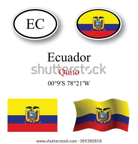 ecuador icons set against white background, abstract art illustration, image contains transparency - stock photo