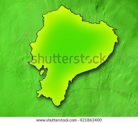 Ecuador map. Green map - stock photo